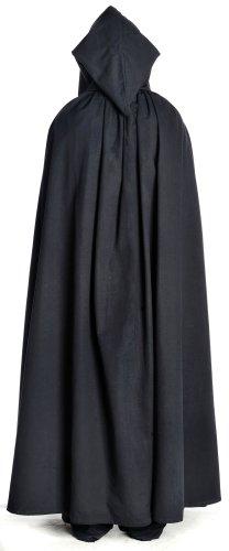 Mittelalter Umhang weit schwarz mit Kapuze Mittelalterliche Kleidung - 3
