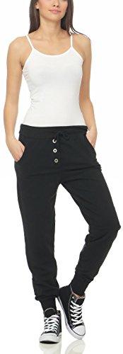 malito Damen Jogginghose im Classic Look | Sporthose in Unifarben | Baggy zum Tanzen | Sweatpants �?Trainingshose 8021 Schwarz
