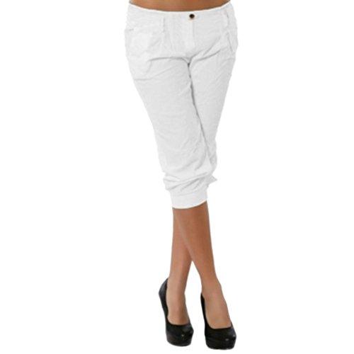 KEERADS Damen Capri Hosen Sommer Elegant Leicht Freizeithose Chino Hose(Ohne Gürtel) (40, Weiß)