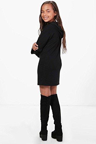 Femmes Noir Robe Sweat À Capuche Et Manches Larges Pour Filles Noir
