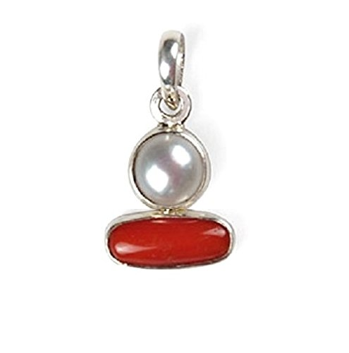 Malabar Gems Lab Certified Pearl / Red Coral Pendant, Moonga / Moti Locket in Silver