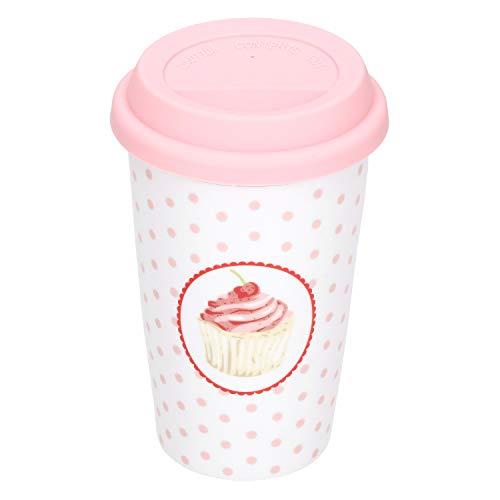 Krasilnikoff Coffee to Go Kaffee-Becher Cupcake 350 ml für Unterwegs Porzellan-Tasse Retro-Geschirr weiß mit rosa Punkten 60er-Jahre Style Geschenk-Idee