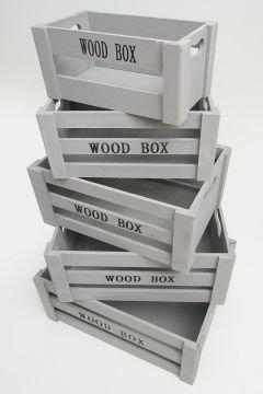 """Aufbewahrungsbox \""""Vintage\"""" Holzkisten 5er Set grau Holzboxen Holzkiste Holzbox Kiste Dekokiste Deko Box Weinkiste Kisten Boxen Aufbewahrung Regal"""