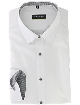 ETERNA Super Slim Langarmhemd Businesshemd aus Baumwolle Hemd Gr. 39 Weiss Strukturiert - Bügelfrei