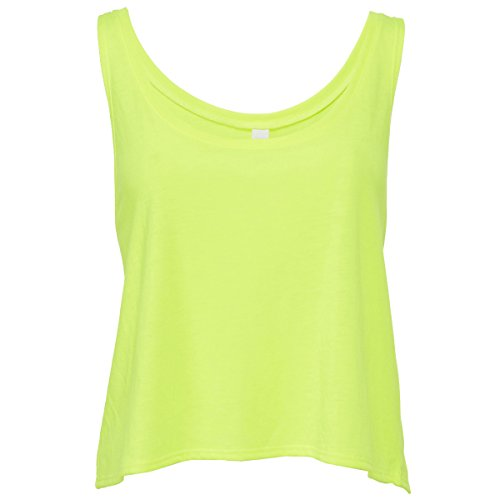 Flowy boxy tank top Athletic Bella Canvas Streetwear Canotta Donna neon yellow