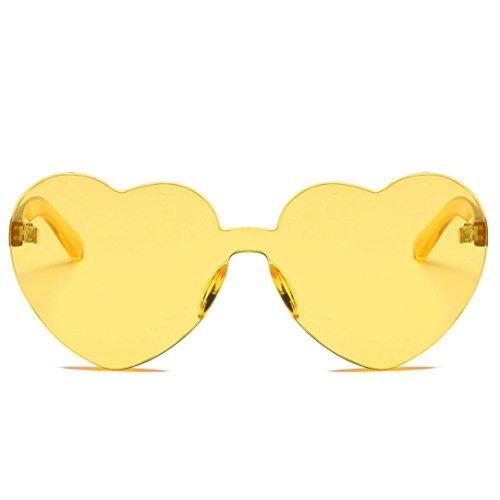 BCDshop Damen-Sonnenbrille, modisch, herzförmig, integrierte UV-Sonnenbrille, Geschenk, gelb, Large