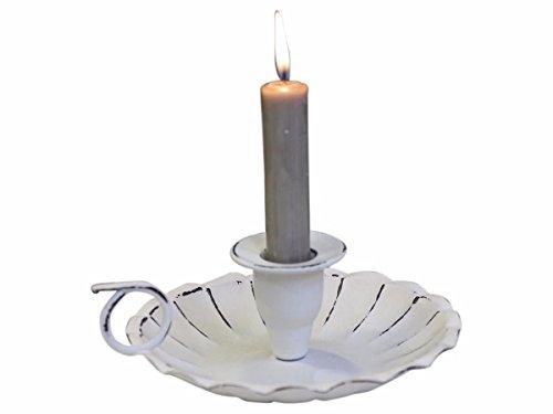 Nostalgischer Kerzenhalter Kammerleuchter Metall mit Henkel creme-weiß- antik