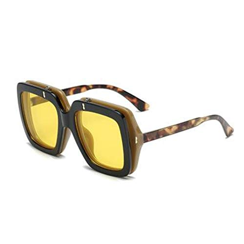 ROirEMJ Retro Greifer Sonnenbrille Männer Frauen Flip Up Fashion Sonnenbrille Oversized Vintage Gläser