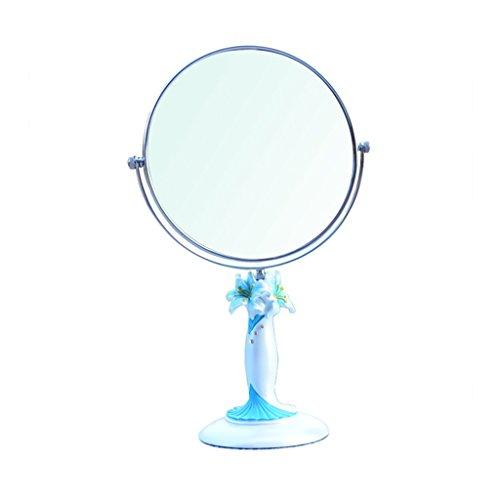 JILAN HOME Mirror- Lily Harz High-Definition Schönheit Vanity Spiegel Make-Up Desktop Dressing Spiegel Doppelseitige Rotierenden Runde Tragbare Spiegel Fuß Stand mirror ( Farbe : Blau , größe : 7-inch )