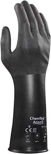Ansell ChemTek 38-520 Butyl/Viton Handschuhe, Chemikalien- und Flüssigkeitsschutz, Schwarz, Größe 9 (1 Paar pro Beutel)