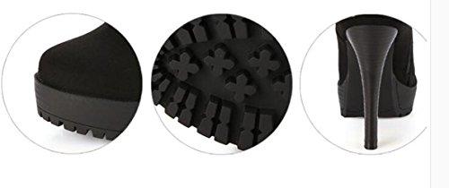 L@YC Femmes Talons hauts Chaussures Deep Spring ronde t¨ºte Suede Stiletto Platform Pump Black