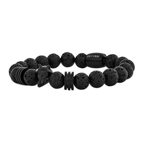 Akitsune Obsidian Perlen-Armband | Armschmuck Damen Herren Onyx Lavastein - Schwarz Lavastein - 20cm (Schwarz Herren Armband Onyx)