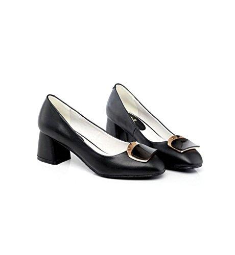 GRRONG Le Cuir De Décoration En Métal Des Femmes Chaussures Simples Avec Le Travail De La Tête Rugueuse Black