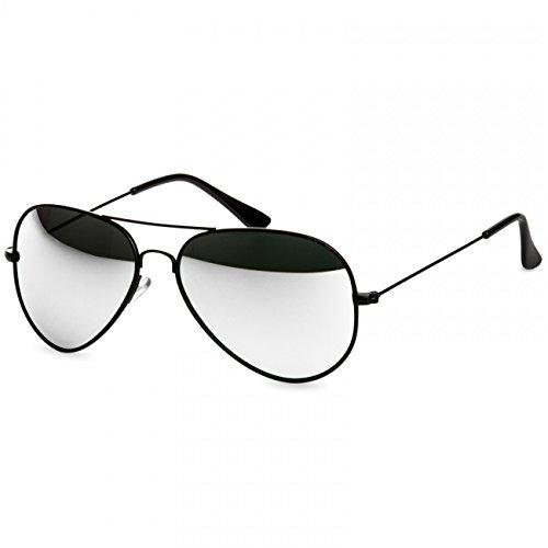 Caspar SG032 Unisex Classic RETRO Design Pilotenbrille Sonnenbrille, Farbe:schwarz/silber verspiegelt