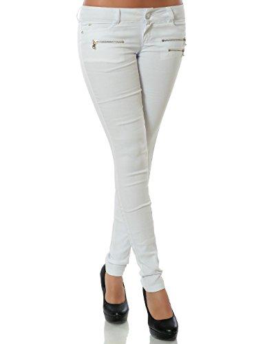 Damen Hose Treggings Skinny Röhre (weitere Farben) No 15528, Farbe:Weiß;Größe:42 / XL