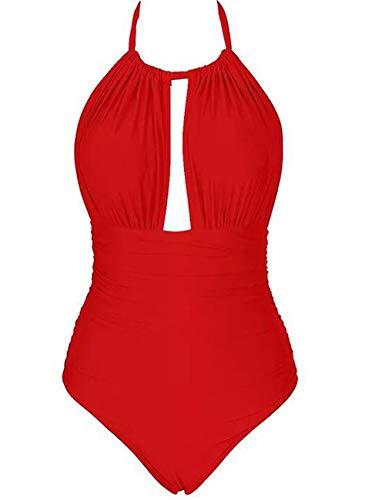 Eomenie Badeanzug Bamen Einteiler, bauchweg und rückenfrei Neckholder Bademode Damen Oversize Badekleidung große Größe L-4XL Monokini für mollige (4XL (EU46-48), Rot) - Rot Neckholder Badeanzug