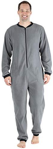 Sleepyheads Onesie, einteiliger Schlafanzug für Herren aus Fleece ohne Fuß, bunter Einteiler, Overall, Grau mit Schwarz (Pod Baby Kostüm)