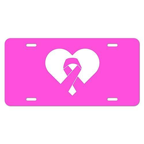 Monsety Metall Auto Tag Schild Brustkrebs Bewusstsein Pink Ribbon in Herz License Plate Cover Geschenk KFZ Zubehör