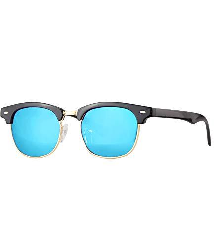 Caripe Kinder Sonnenbrille Retro Vintage Mädchen Jungen Verspiegelt - klubbakid (One Size, 833 - schwarz - blau verspiegelt)
