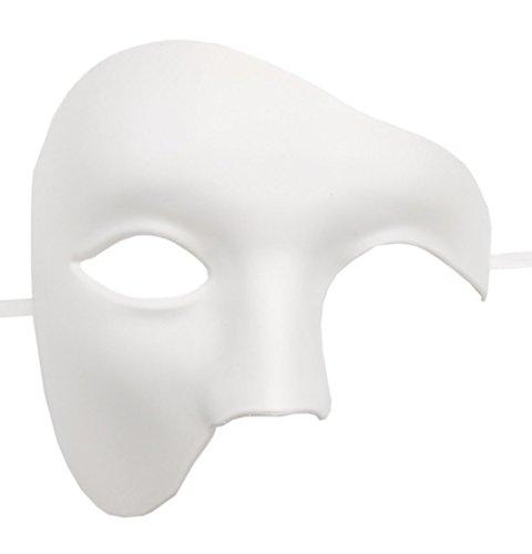 Flywife Uomo Fantasma di Il Musica lirica Mascherata Maschere metà Viso Annata Romano Veneziano Maschere (Bianco)