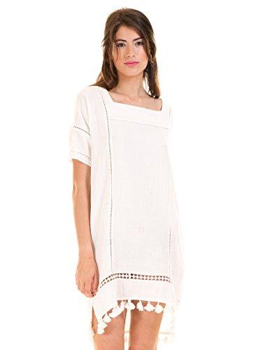 vestido ibicenco blanco pompones de first and i m blanco