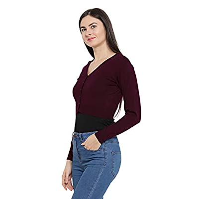 Monte Carlo Maroon Solid Pure Wool Front Open Blouse