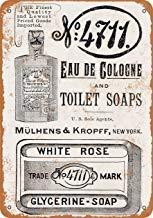 1891 EAU de Cologne and White Rose Seife Metallschilder Vintage Retro Blechschild Wanddekoration Wandschild Metallplakat für Garage Man Cave -