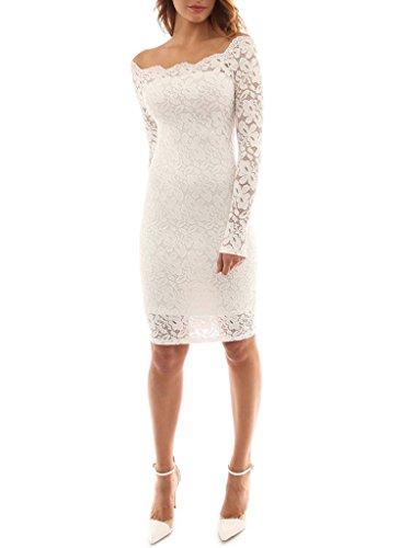 Minetom Donna Senza Spalline Pizzo Manica Lunga Mini Vestito Party Club Cocktail Vestiti Bianco
