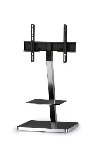 SONOROUS PL-2710 NG Fahrradständer 92 cm für Fernseher bis 60 Zoll mit Ablage. Schwarzes Glas/schwarzer Rahmen