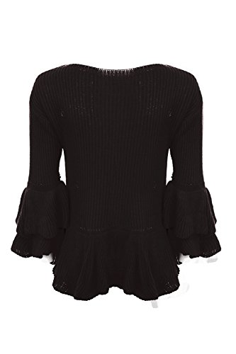 Fantasia Boutique femmes ras de cou tricoté 3/4 à volants Manchon de Bell Double Péplum PULL Noir