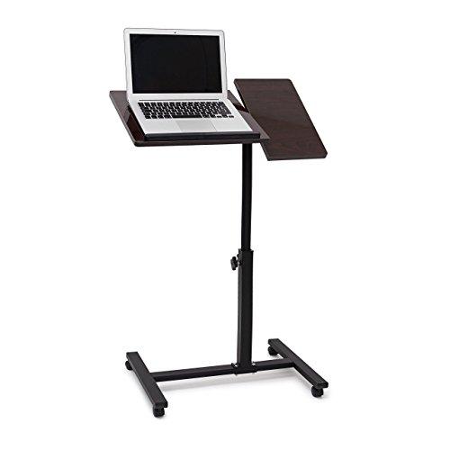 Relaxdays Laptoptisch höhenverstellbar, Laptopständer Holz, mit Rollen, drehbar, HxBxT: 95 x 60 x...