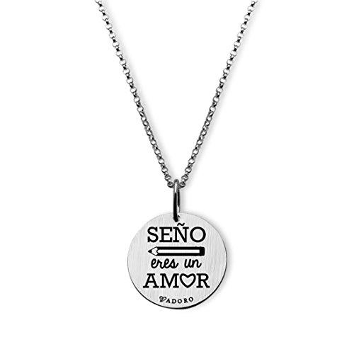 ffecfa13d4ec Colgante y cadena plata seño eres un amor 14MCOS02