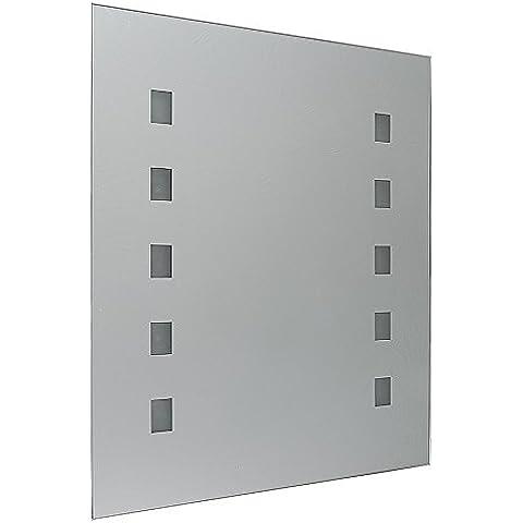 Moderno Espejo Luminoso con Luz LED IP44 MiniSun con Forma Rectangular a Pilas para Baño