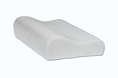 Contour Memory Foam Kissen mit Weiß, waschbar Cover–für Rücken- und Seitenschläfer gegen Cervical Schmerzen Schulter Schmerzen und Wunde Hals, Größe 49cm x 30cm x 10cm (50x 30cm X 9,9x 7,4cm), weiß