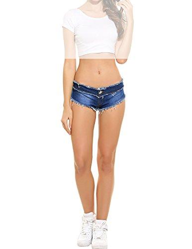 Lomon pantaloncini corti sfilacciati in jeans da donna per la spiaggia (l, blu scuro)