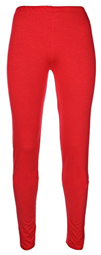Miss Chief Girls Plain Legging Full Length (Ages 2 3 4 5 6 7 8 9 10 11 12 13 + Adult Sizes) Dance Stretch Teen (Fire Red)