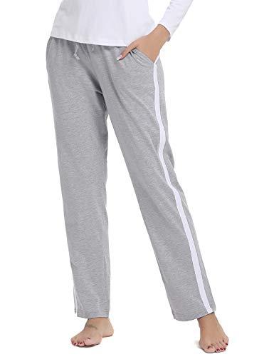 Aibrou Damen Jogginghose Sporthose Freizeit Hose Baumwolle Lang für Jogging Laufen Fitness Traininghose mit Streifen Grau M -