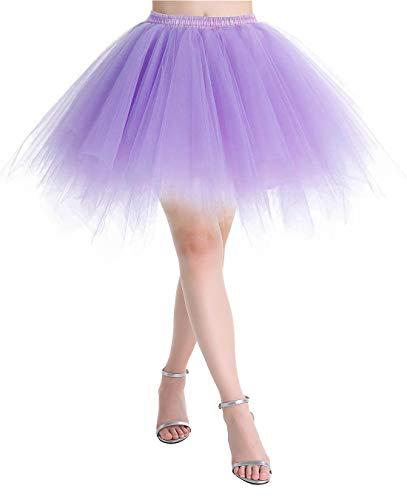 (MuaDress MUALXQ Kurz Tutu Retro Petticoat 1950s Vintage 50er Minirock Unterrock Tüllrock Lavender Medium)