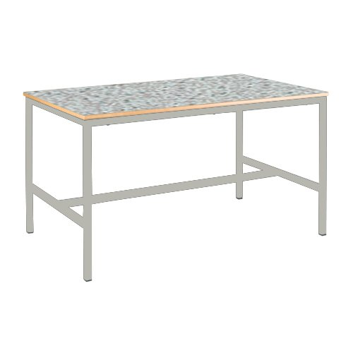 piel sintética, borde gris claro, verano color azul Mesa de ecuación Metalliform EQUPR-11LE-PS-LG-53-BK-Summer