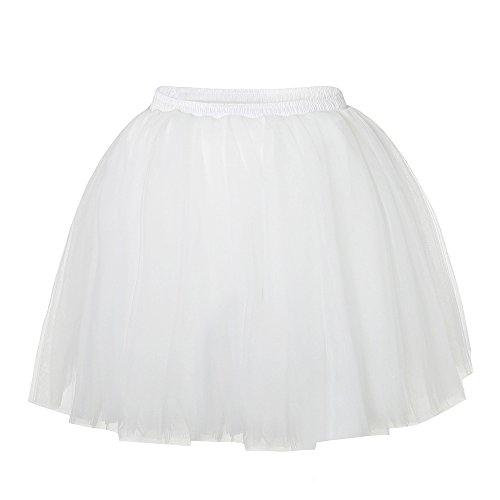 Damen Tüll rock tutu Tüllrock Unterrock Petticoat Knielang Falten Rock Tutu Organza weiß - 5