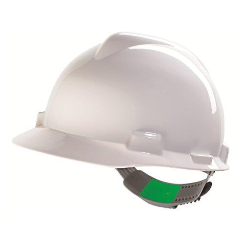 Casco per Lavoratori Edili MSA V-Gard con Controllo a Scorrimento PushKey - Casco da Lavoro, Casco di Protezione, Casco per Cantiere, Colore: Bianco