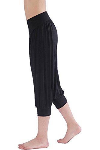 HOEREV® Frauen-Super Soft Modal Spandex Harem Yoga Pilates Capri Hose Weiß