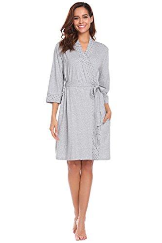Avidlove Damen Kimono Morgenmantel kuschelig Bademantel V-Ausschnitt Mit Abnehmbarer Gurtel Kurz Schlafanzug Nachtwasche fur Damen
