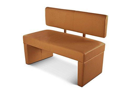 SAM Esszimmer Sitzbank Sander, 140 cm, in cappuccino, Sitzbank mit Rückenlehne aus Samolux-Bezug, angenehmer Sitzkomfort, frei im Raum aufstellbare Bank