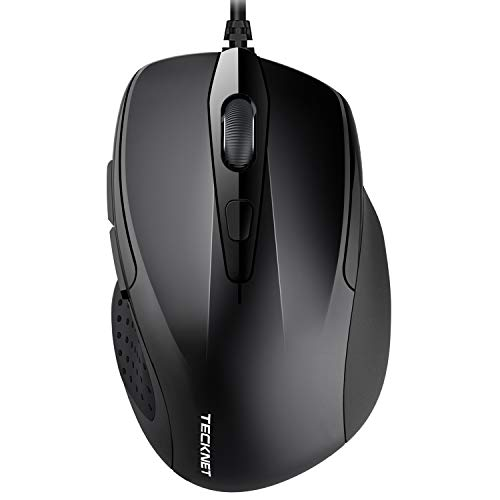 TECKNET Wired Maus, Optical Business Mouse Verdrahtete Ergonomische Maus mit 6 Tasten, 2 Verstellbare DPI Level, USB-Kabel 140 cm -