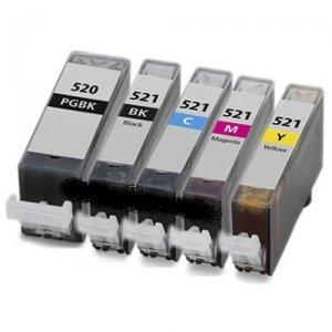 Preisvergleich Produktbild SET- 5 Tintenpatronen (MIT CHIP) kompatibel zu PGI520 BK / CLI521 BK / CLI521 C / CLI521 M / CLI521 Y. Sie erhalten 1x PGI-520BK+ 1x CLI-521BK + 1x CLI-521C + 1x CLI-521M + 1x CLI-521Y für Canon PIXMA IP3600 , IP4600 , IP-4600X , IP-4700 , MP540 , MP550 , MP560 , MP620 , MP630 , MP6400 , MP980 , MP990 , MX860 , MP-550 , MP-540 , MP-560 , MP-620 , MP-630 , MP-640 , MP-980 , MP-990 , MX-860