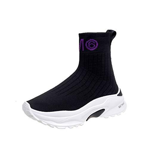 SIKESONG Socken Stiefel Schuhe Damen Höhe Erhöhte Plattform Ankle Boots Sexy Stiefel Mädchen Student Schuhe, Lila Schreiben, 5