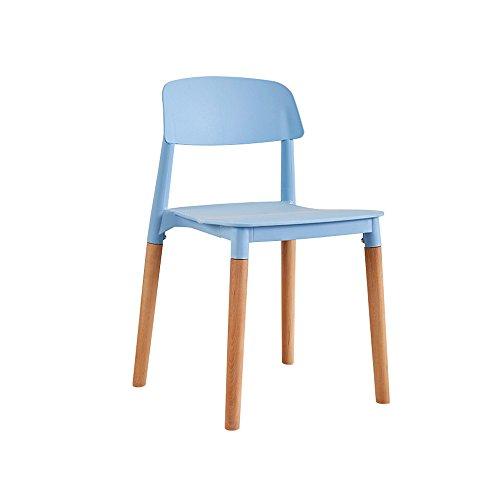 XUERUI Chaise Plastique + Bois 43 CM * 45 CM * 76 CM Blanc, Bleu, Vert, Noir, Rouge, Jaune Meubles Cuisine Maison (Couleur : Bleu)