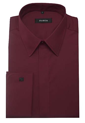 HUBER Manschettenhemd weinrot M
