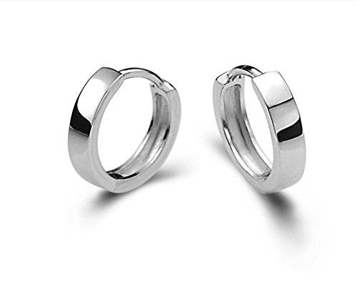 Wiftly Damen Herren Mädchen Ohrringe Silber 925 Einfache Stil Creolen